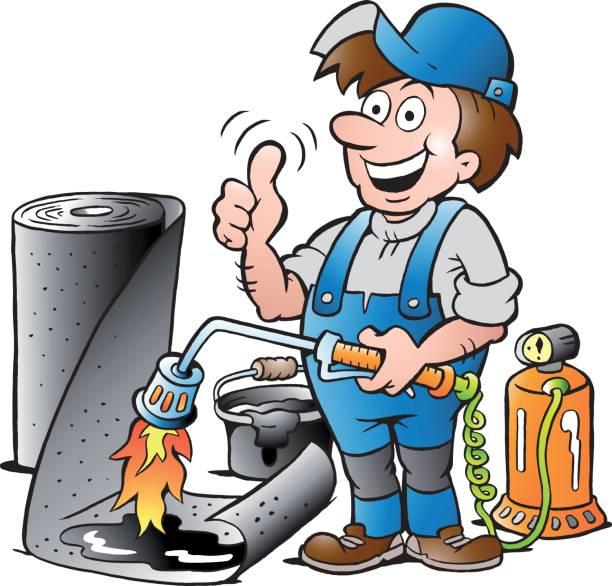 vector cartoon illustration of a happy working roofer giving thumb up - filzarbeiten stock-grafiken, -clipart, -cartoons und -symbole