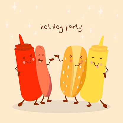 Vector cartoon illustration of a hot dog