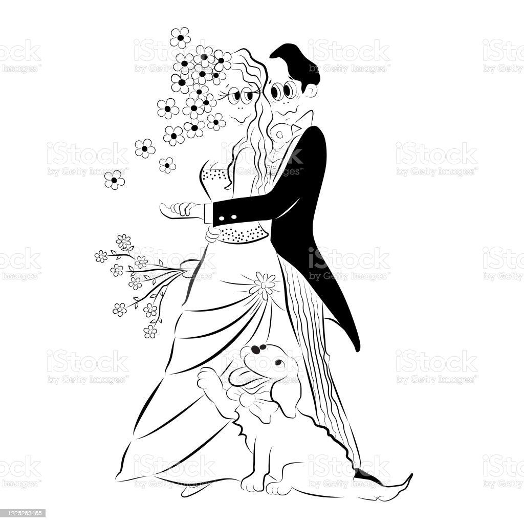 Illustration De Dessin Animé De Vecteur Dun Couple De Mariage Mariée Et Un Marié Sembrassant Le Jour De Leur Mariage Et Posant Au Photographe Avec Leur Chien De Récupération Dor Belle Vecteurs