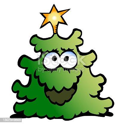 istock Vector Cartoon illustration of an happy Christmas Green Tree 1302949865