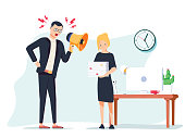 Vector cartoon illustration of angry boss and frightened employee. Man standing near the table, woman bring pile of papers.