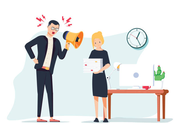 illustrazioni stock, clip art, cartoni animati e icone di tendenza di vector cartoon illustration of angry boss and frightened employee. man standing near the table, woman bring pile of papers. - contrariato