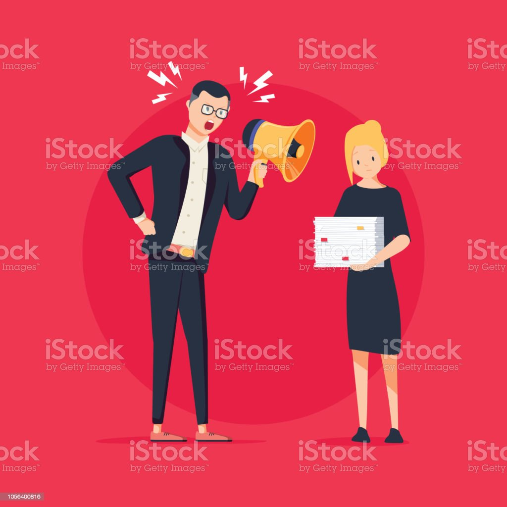 Vector cartoon illustration of angry boss and frightened employee. Man standing near the table, woman with papers vector art illustration