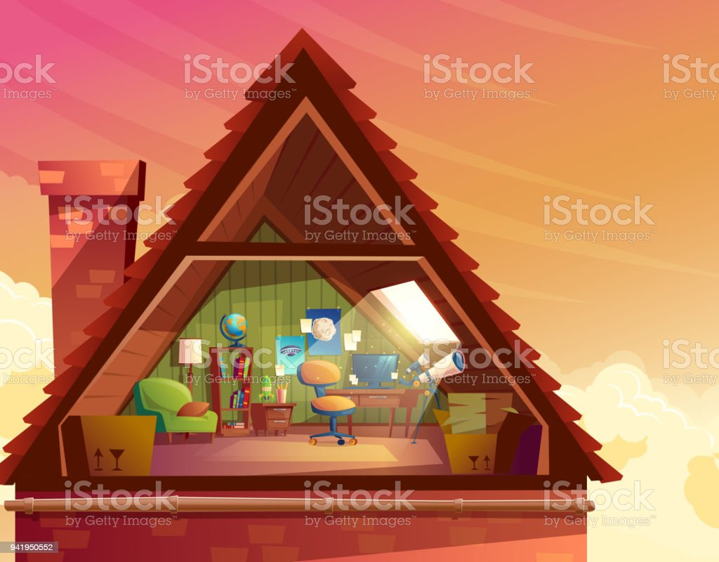 Vector cartoon illustration of attic, mansard vector art illustration