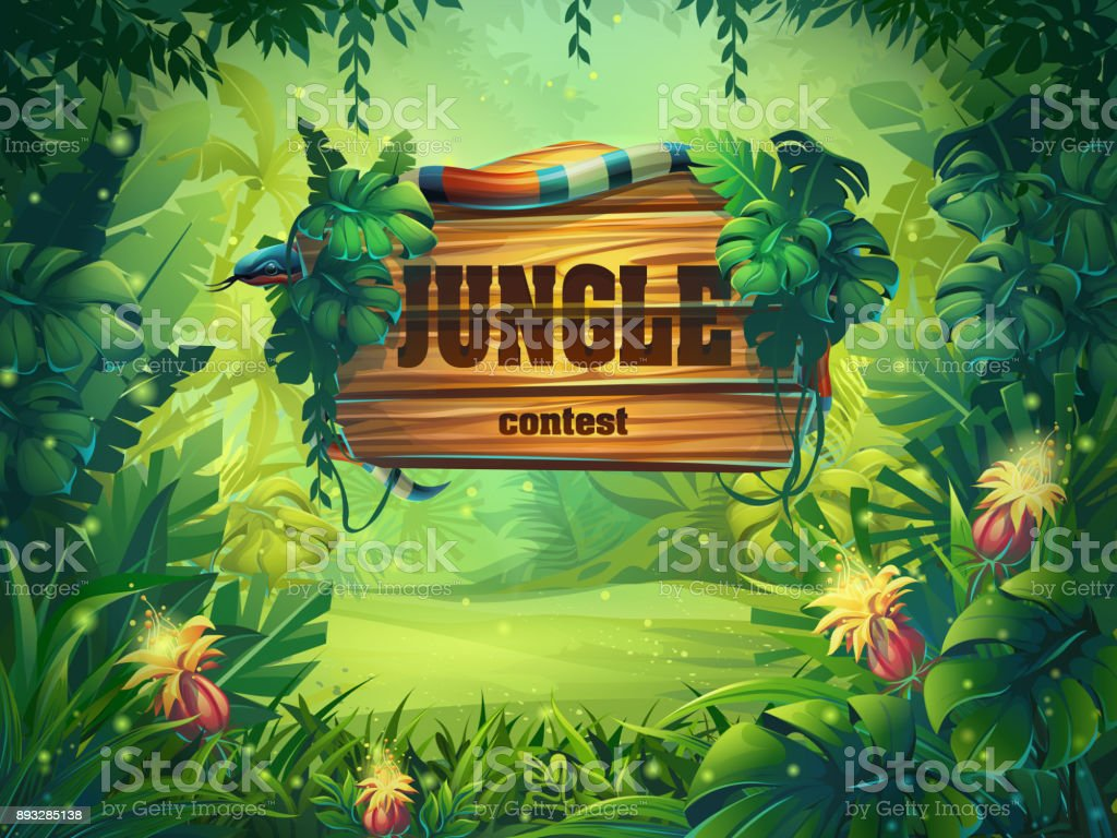 Vector cartoon illustration of background rainforest vector art illustration