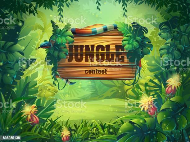 Vector Cartoon Illustration Of Background Rainforest — стоковая векторная графика и другие изображения на тему Баннер - знак
