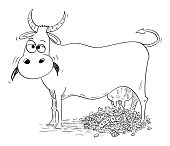 Vector Cartoon Illustration of Cash Cow Giving or Milking Money