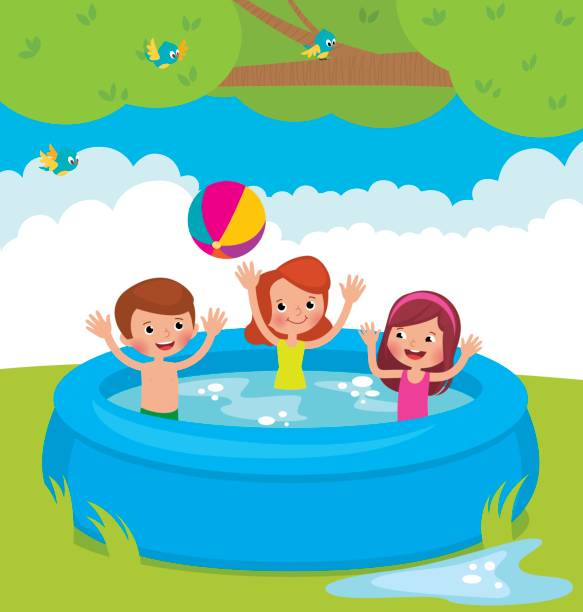 Best Inflatable Swimming Pool Illustrations Royalty Free