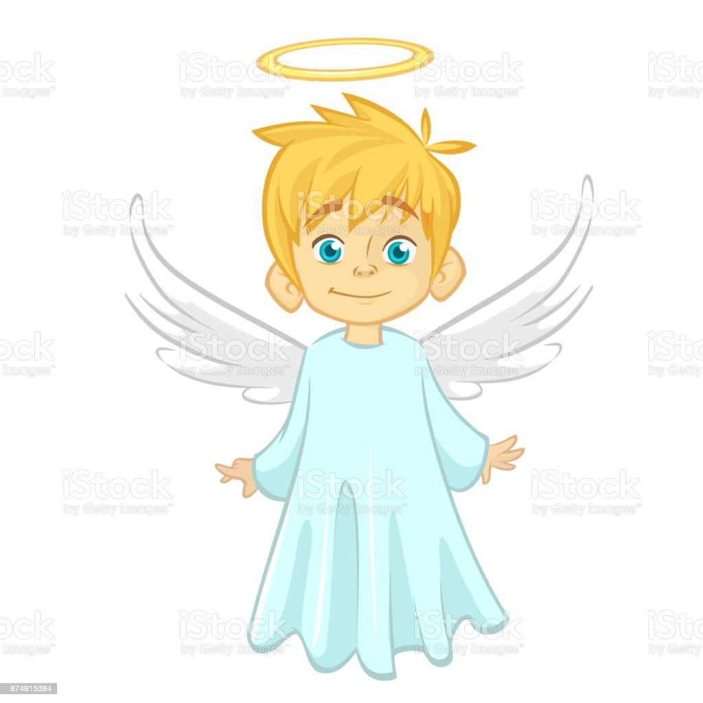 Vector cartoon illustration of Christmas angel with nimbus and wings vector art illustration