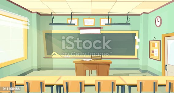 881192038 istock photo Vector cartoon illustration of college classroom 941495486