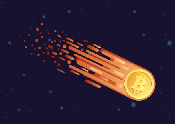 stockillustraties, clipart, cartoons en iconen met vector cartoon afbeelding van komeet met gouden bitcoin symbool vliegen in open galaxy ruimte. bitcoin vallen naar beneden. - bitcoin