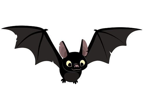 Vector cartoon illustration of cute friendly black bat character, flying with wings spread, in flat contemporary style isolated on white.