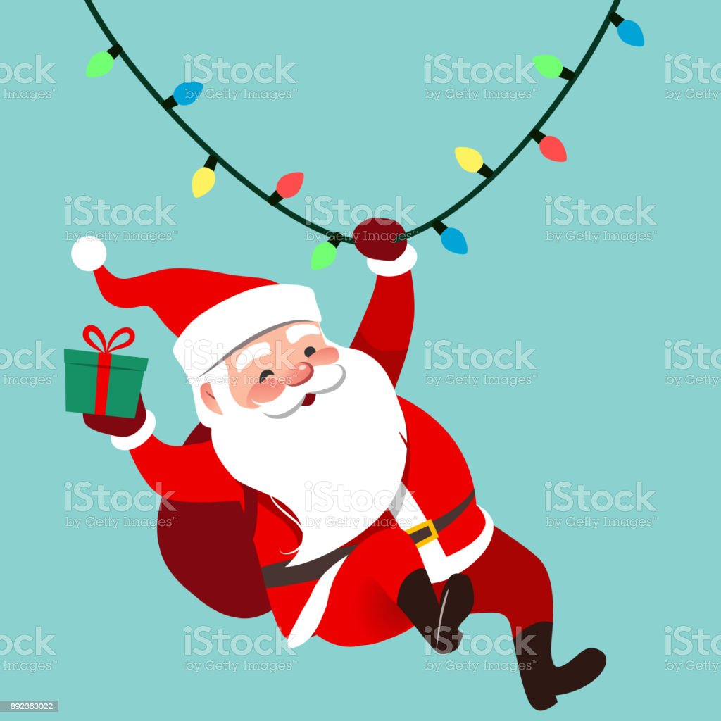 Vector cartoon illustration of cute traditional Santa Claus character swinging on a string of rope Chrismas lights, wrapped gift in hand, isolated on aqua blue. Christmas winter holiday design element - arte vettoriale royalty-free di Babbo Natale