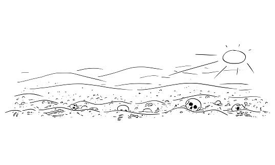 Vector Cartoon Illustration of Desert Landscape With Skulls and Bones. Epidemic, Famine, Human Extinction, End of Civilization