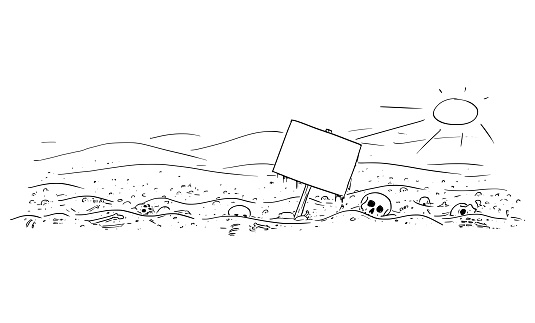 Vector Cartoon Illustration of Desert Landscape With Skulls and Bones. Empty Sign for Text. Epidemic, Famine, Human Extinction, End of Civilization