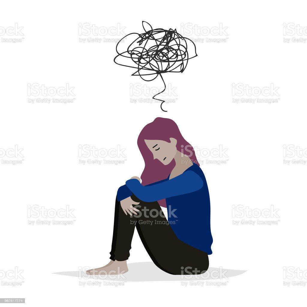 Ilustração em vetor dos desenhos animados de mulheres desesperadas tristes quando sentada sozinha no chão. Personagens isoladas no fundo branco. - Vetor de Adulto royalty-free