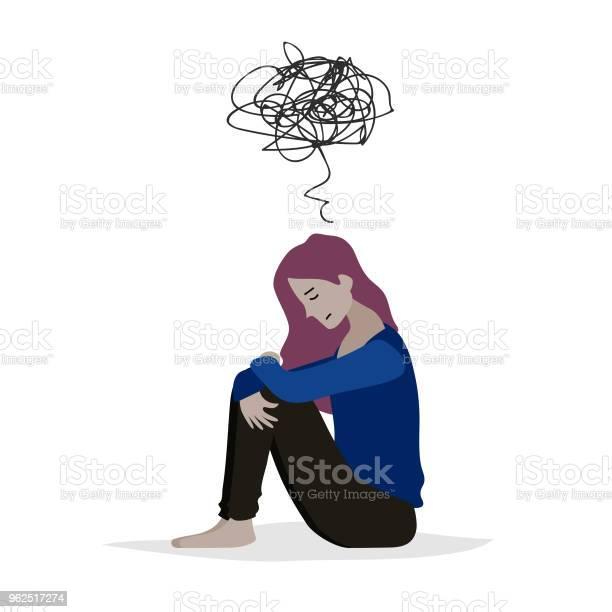 Vetores de Ilustração Em Vetor Dos Desenhos Animados De Mulheres Desesperadas Tristes Quando Sentada Sozinha No Chão Personagens Isoladas No Fundo Branco e mais imagens de Adulto