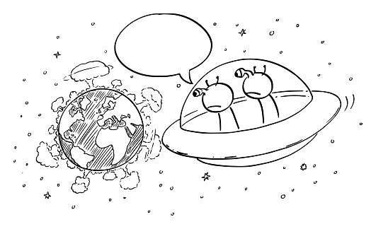 Vector Cartoon Illustration of Funny Aliens in UFO or Flying Saucer Watching From Space Nuclear War Explosions on Planet Earth and Commenting It.