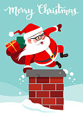 Vector cartoon illustration of funny cute Santa Claus with backpack full of gifts, jumping into a chimney doing  hand vault. Christmas festive holiday theme design element in contemporary flat style.