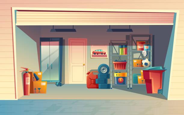 ilustrações de stock, clip art, desenhos animados e ícones de vector cartoon illustration of garage interior - house garage