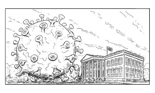 Vector Cartoon Illustration of Giant Covid-19 or SARS-CoV-2 Coronavirus Virus on White House Garden. Concept of Epidemic in US