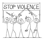 Vector cartoon stick figure drawing conceptual illustration of group or crowd of soldiers, or armed people with guns demonstrating or brandish with pistols and rifles and holding stop violence sign.