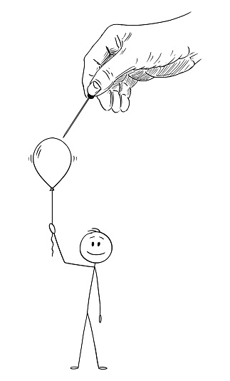 Vector Cartoon Illustration of Happy Man or Businessman Holding Inflatable Party Balloon or Air Ball While Big Hand of God or Fortune is Breaking It.