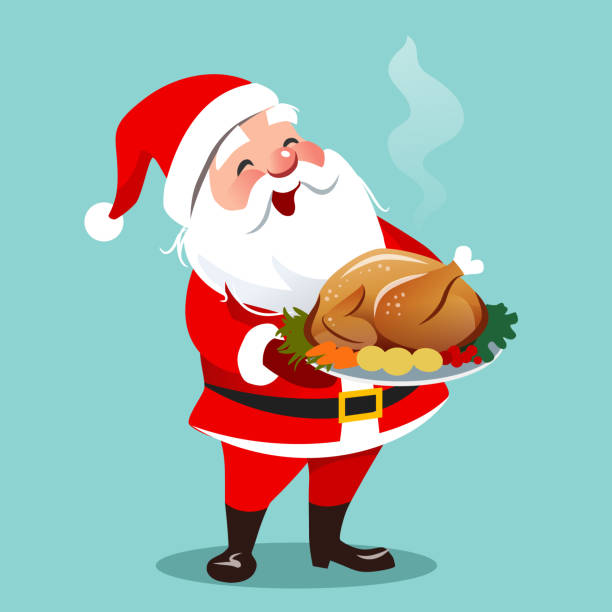 illustrazioni stock, clip art, cartoni animati e icone di tendenza di vector cartoon illustration of happy smiling santa claus standing holding roasted turkey with vegetables on a platter.  christmas theme flat contemporary design element template for cards, banners. - cena natale