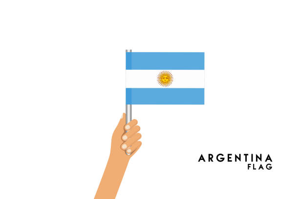 vector cartoon illustration of human hands hold argentina flag. isolated object on white background. - argentina flag stock illustrations, clip art, cartoons, & icons