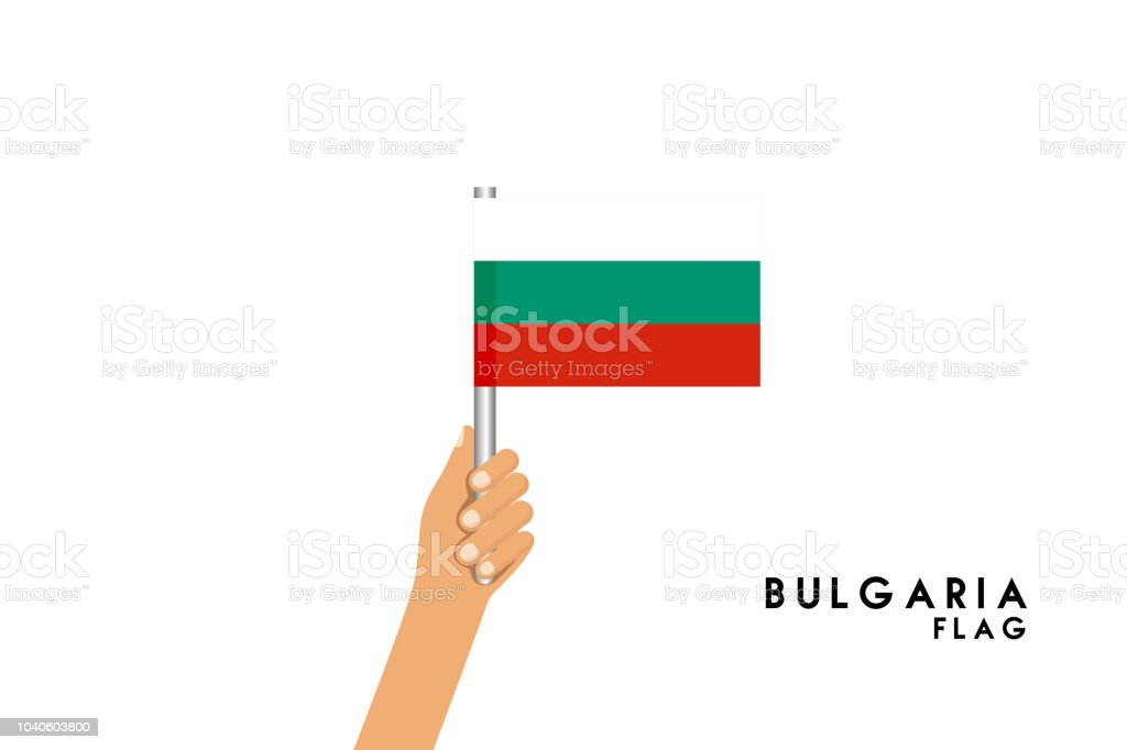 Vector cartoon illustration of human hands hold Bulgarian flag. Isolated object on white background. vector art illustration
