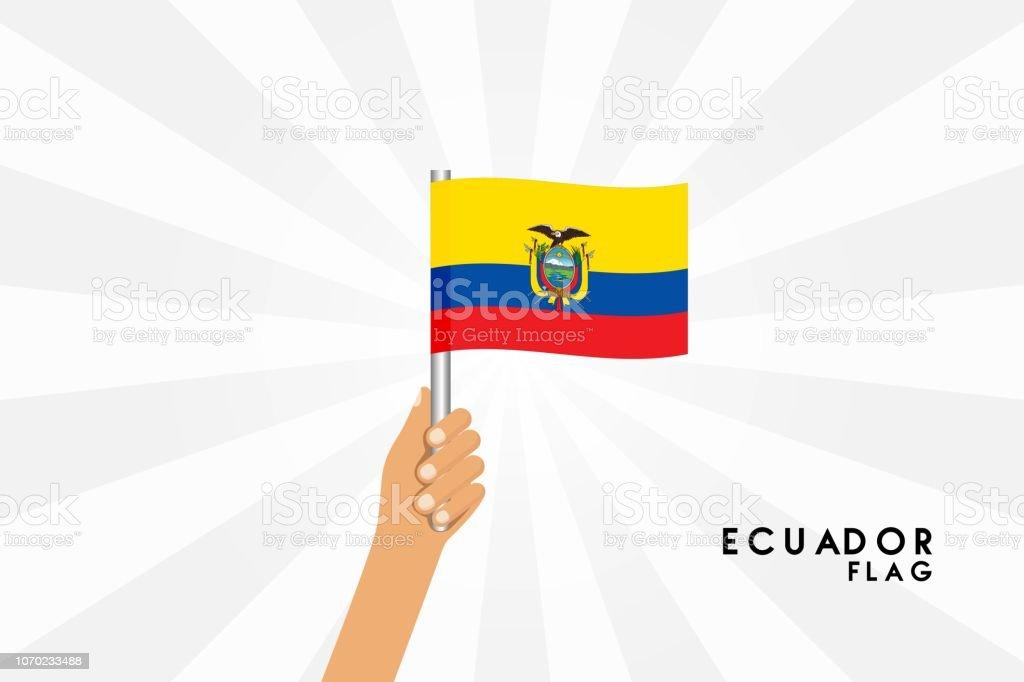 Ilustração de desenho vetorial de mãos humanas segurar bandeira do Equador. Objeto isolado no fundo branco. - ilustração de arte em vetor