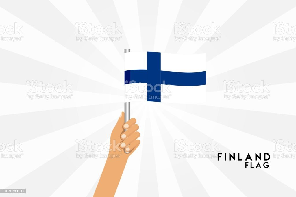 Vector cartoon illustration of human hands hold Finland ( Finnish ) flag. Isolated object on white background. vector art illustration
