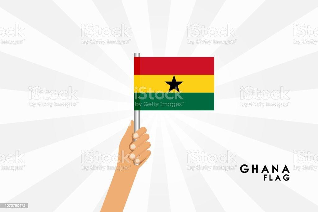 Ilustración de dibujos animados de vectores de manos humanas tienen bandera ghanesa. Objeto aislado sobre fondo blanco. - ilustración de arte vectorial