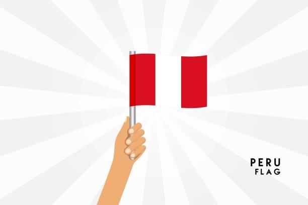 ilustrações, clipart, desenhos animados e ícones de ilustração de desenho vetorial de mãos humanas segurar bandeira do peru. objeto isolado no fundo branco. - bandeira do peru
