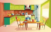 Vector cartoon illustration of kitchen interior