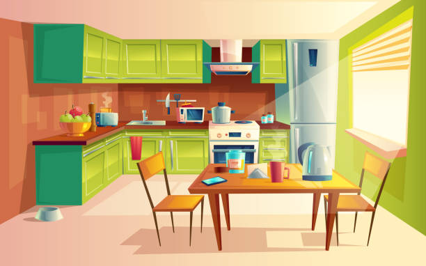 Vector cartoon illustration of kitchen interior Vector cartoon illustration of cozy modern kitchen with appliances, fridge, stove, toaster, microwave, kettle. Comfortable and clean dining-room, interior inside, concept with furniture and tableware kitchen stock illustrations