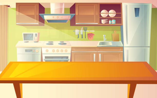 Vector cartoon illustration of kitchen interior Vector cartoon illustration of cozy modern kitchen with dinner table and household appliances, fridge, stove, microwave, exhaust hood. Comfortable, clean dining-room, with tableware, interior inside domestic kitchen stock illustrations