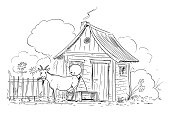 Vector Cartoon Illustration of Man or Farmer Milking Goat on Small Old Rural Farm