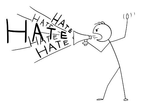 Vector Cartoon Illustration of Man or Politician Using Megaphone or Loudspeaker to Spread Hate or Propaganda