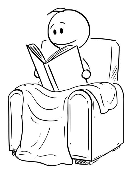 vector cartoon illustration of man siting under blanket in comfortable armchair or chair and reading the book - old man sitting chair drawing stock illustrations, clip art, cartoons, & icons