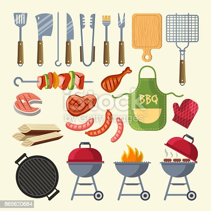 Vector cartoon illustration of meat, sauce, grill and other elements for bbq party. Grill barbecue food, meat bbq, steak grilled