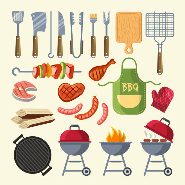 Vector cartoon illustration of meat, sauce, grill and other elements for bbq party - illustrazione arte vettoriale