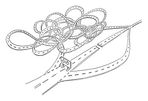 Vector Cartoon Illustration of Road Closure and Choose From Short or Long Complicated Detour. Strategy Decision, Future Planning