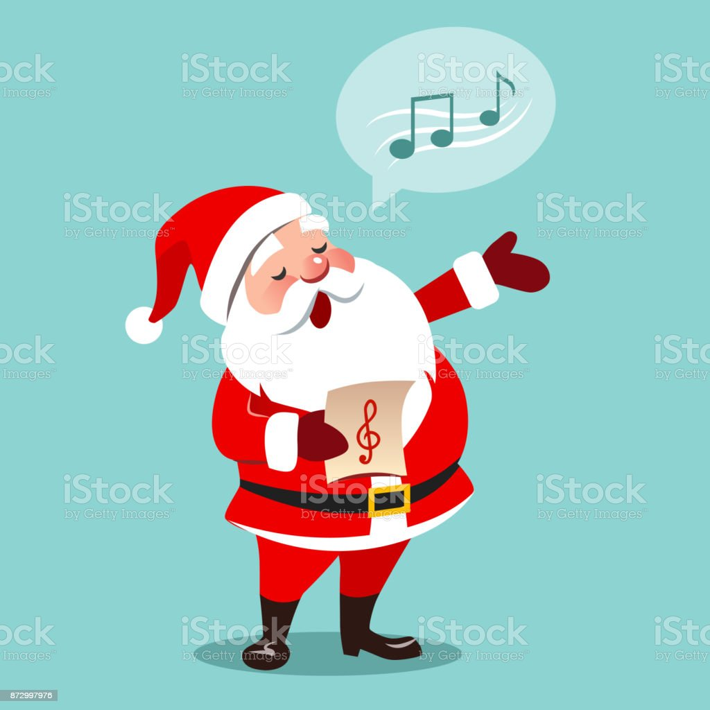 Vector cartoon illustration of Santa Claus singing Christmas carols, holding sheet music in one hand, musical notes in speech bubble, isolated on aqua blue background, contemporary flat style vector art illustration