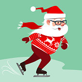 Vector cartoon illustration of Santa Claus wearing red sweater with Nordic reindeer pattern, ice skating. Winter Christmas holiday outdoor sport activities design element in contemporary flat style.
