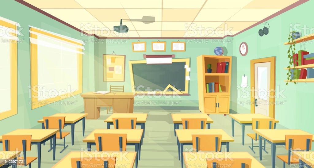 Vector cartoon illustration of school classroom vector art illustration