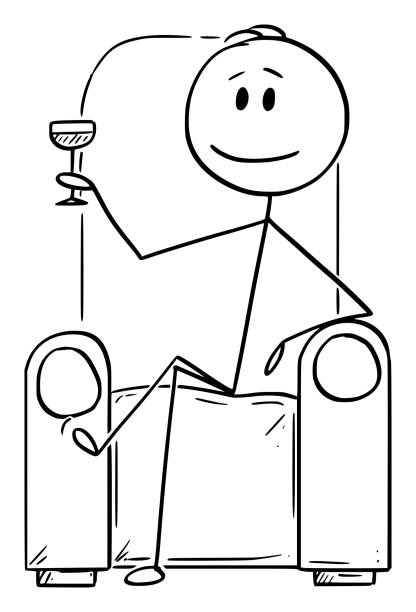 Vector Cartoon Illustration of Succesful Man or Businessman or Gentleman Sitting in Armchair or Chair with Drinking Glass Vector cartoon stick figure drawing conceptual illustration of successful man or businessman or gentleman sitting in chair or armchair with drinking glass in hand. champaign illinois stock illustrations