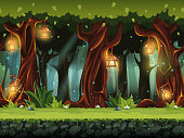 Vector cartoon illustration of the fairy forest
