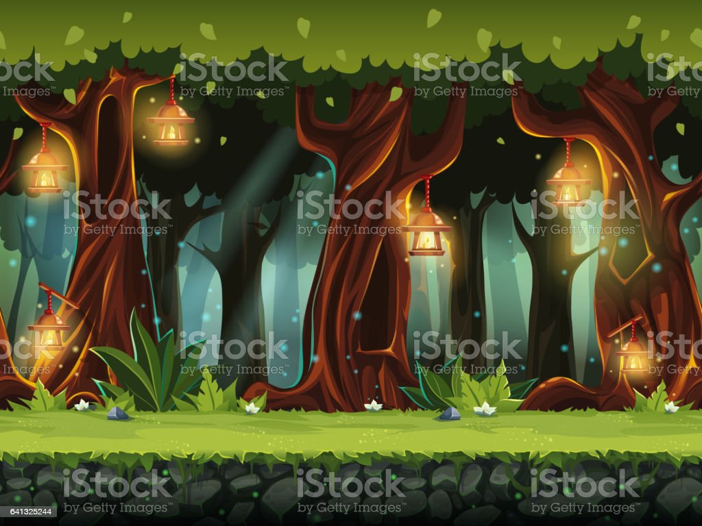 Vector cartoon illustration of the fairy forest vector art illustration