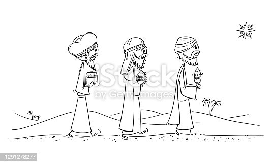 istock Vector Cartoon Illustration of Three Wise Men or Kings or Biblical Magi Bearing Gifts to Jesus in Bethlehem 1291278277